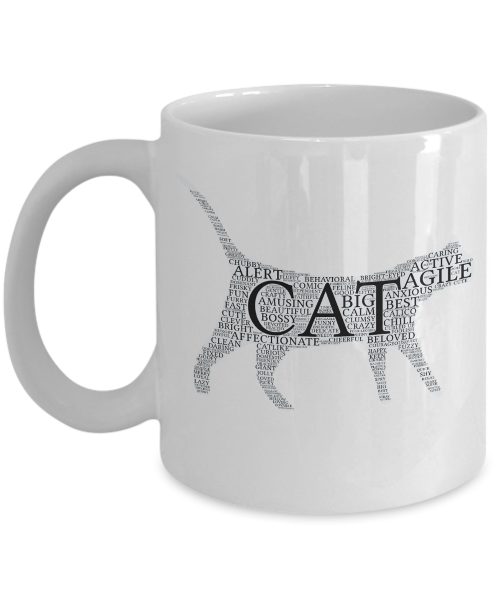 Cat Word Mug - Cat words in the shape of a cat.  Word Art Mug