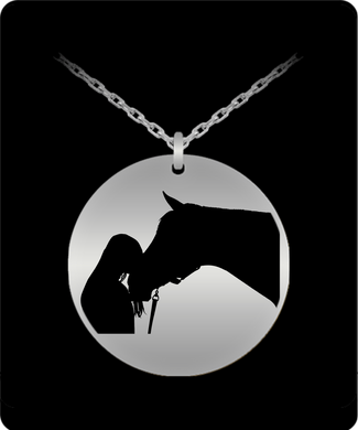 Girl and Horse Silhouette 20 Inch SS Necklace
