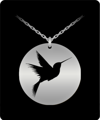 Hummingbird Laser Engraved Necklace with 20 Inch Chain