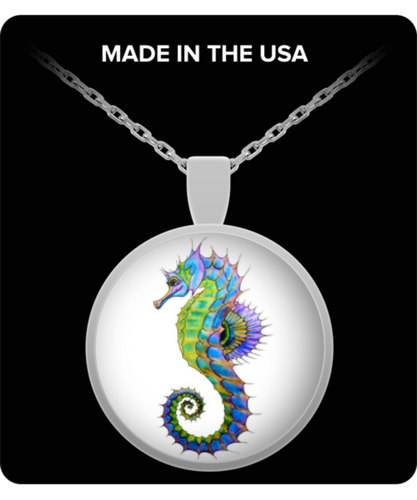 Colorful Seahorse Necklace - 20 Inch Chain Stainless Steel