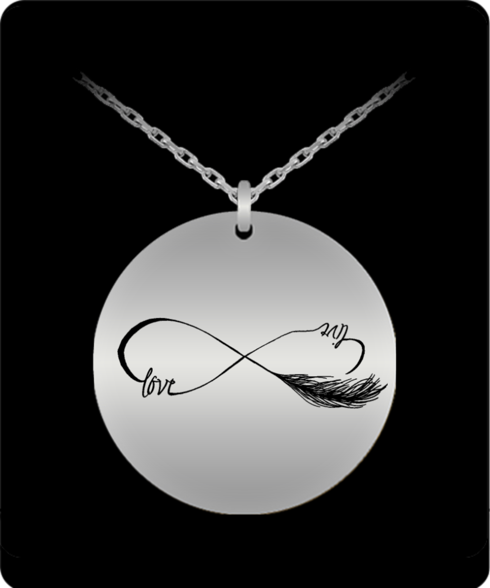 Live Love Necklace - 20 in Chain Stainless Steel Engraved