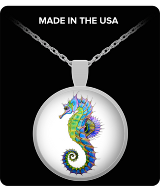 Colorful Seahorse Necklace - 20 inch chain