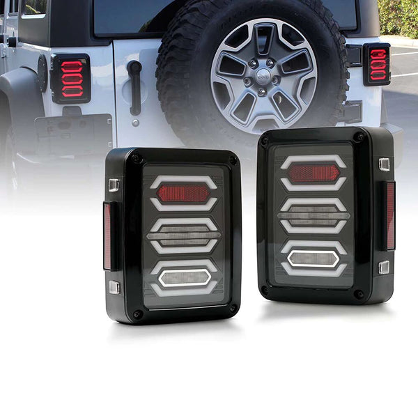 Xprite Diamond Series LED Taillights For Jeep Wrangler (JK-JKU 2007-2018)