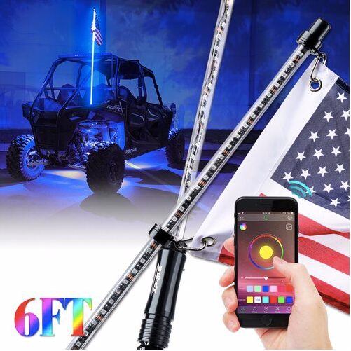 Xprite - 6FT Bluetooth Controlled RGB Flag Pole Whip Light