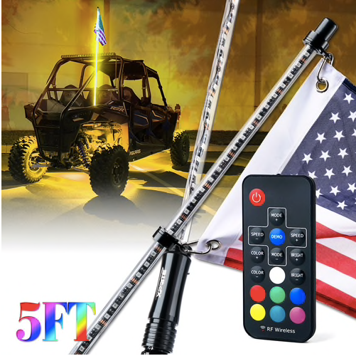 Xprite - 5FT Remote Controlled RGB Flag Pole Whip Light