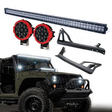 Xprite Super Nova 5D 52 Inch LED Work Light Bar, 51W 7 Inch Red Spot Light & Windshield Mounting Bracket