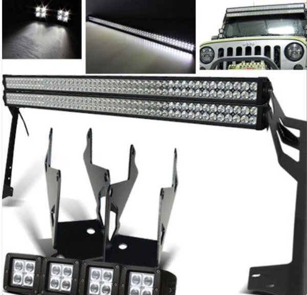 Jeep Wrangler Double 52 Inch Lightbar with Pillar Mount and 4x 4 Inch Pods