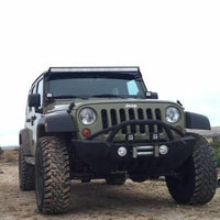 Jeep Wrangler  52 Inch Led Lightbar and 2x 4 Inch Pods with Pillar Mount