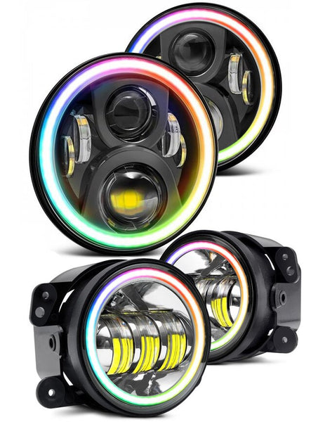 RGB Halo LED Headlight and Fog Light COMBO - Jeep Wrangler JK & JKU