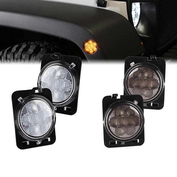 Xprite LED Side Marker Fender Lights For Jeep Wrangler (JK-JKU 2007-2018)