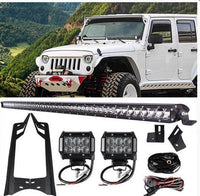 Jeep Wrangler  52 Inch Single Row LED Lightbar with Pillar Mount and 2x 4 Inch Pods