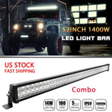 Jeep Wrangler 52 Inch LED Lightbar (1400 Watt)