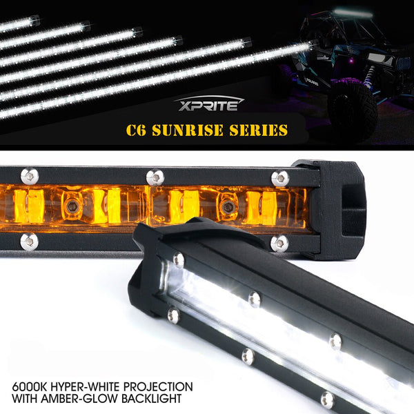 Xprite C6 Sunrise Series Single Row LED Light Bar w- Amber Back Light For Jeep Wrangler (TJ-JK-JL 1997-2018+)
