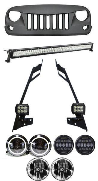TITAN - Mega Combo - 52 Inch Lightbar with Pillar Mount & 2x4 Inch Pods & LED Headlights & Eagle Eye Grille