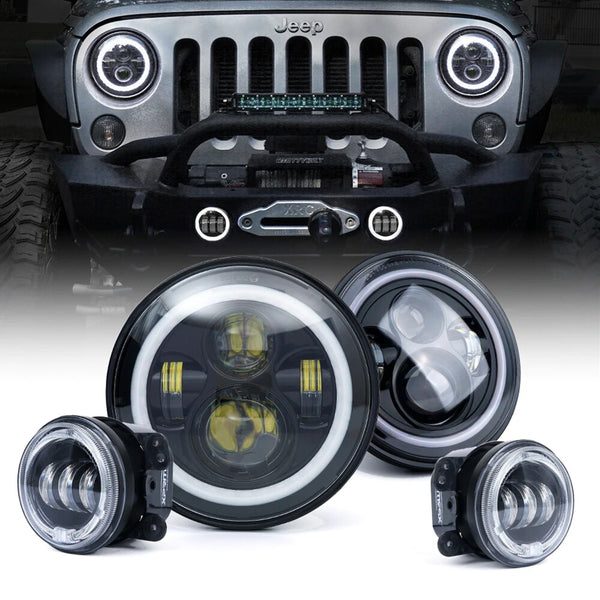 Jeep JK & JKU Halo LED Headlights & Fog Lights Combo