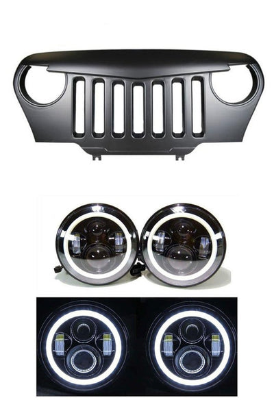 XPRITE- Angry Eye Grille and Halo LED Headlights Combo