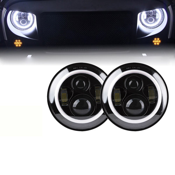 Jeep Wrangler LED Headlights With Halo (1997-2018+)
