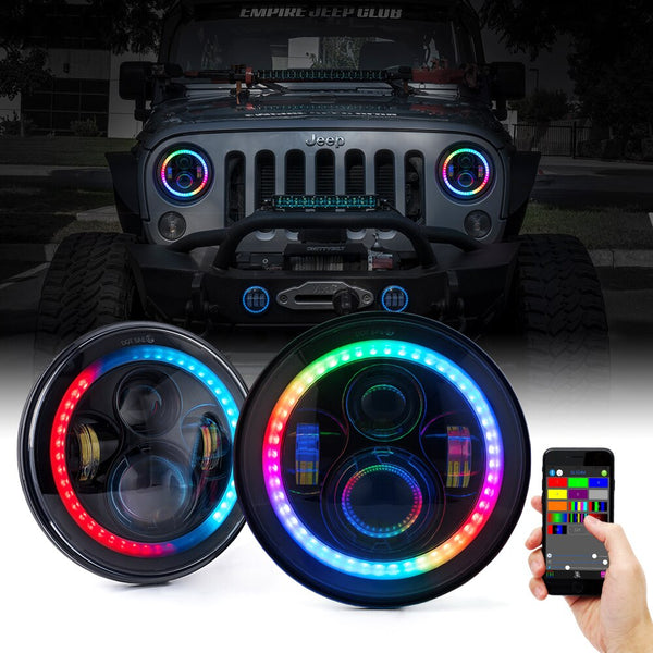 Jeep Wrangler RGB Color Chasing Halo Headlights (1997-2018+)