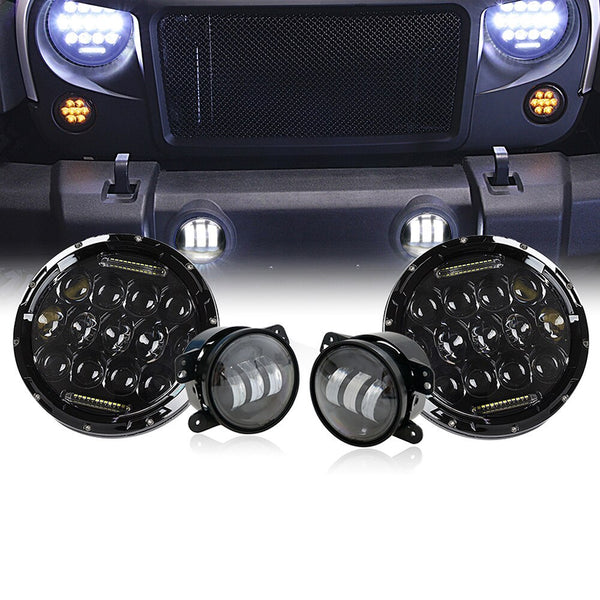 Xprite CREE LED Headlights & Fog Lights Combo For Jeep Wrangler (JK-JKU 2007-2018)
