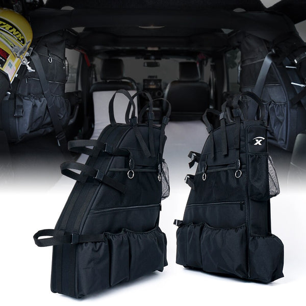 Xprite Rear Roll Bar Storage Bags For Jeep Wrangler (JKU 2007-2018)