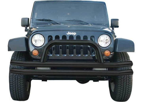 Rampage Double Tube Front Bumper w- Hoop For Jeep Wrangler (JK-JKU 2007-2018) - 86620
