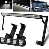 Jeep Wrangler 52 Inch Lightbar with Pillar Mount and 4x4 Inch Pods