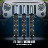 "Xprite 3PC 8"" Double Row Philips LED Grille Light Kit For Jeep Wrangler (JK-JKU 2007-2018)"