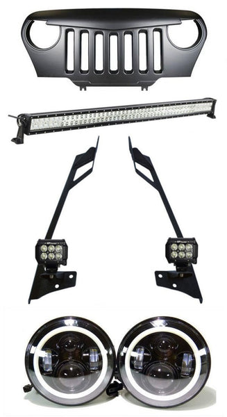 TITAN - Mega Combo 50 Inch Lightbar with Pillar Mount, 2x 4 Inch Pods, LED Halo Headlights, Angry Grille
