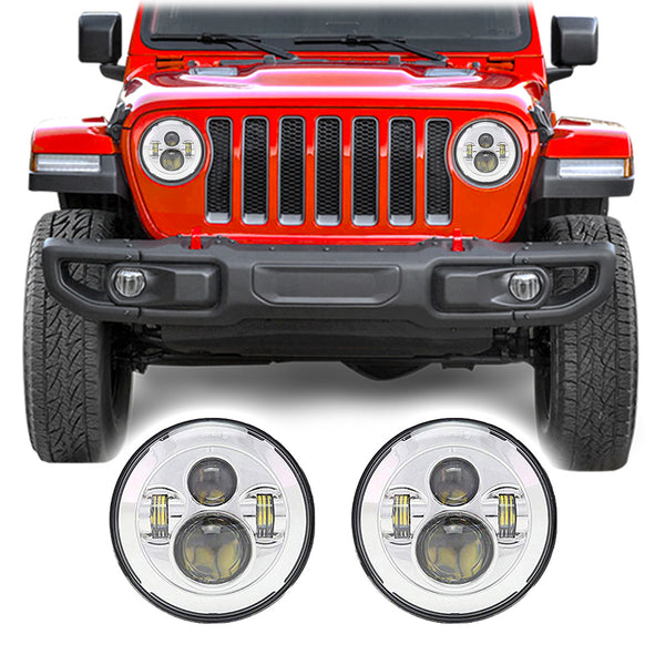 "Jeep Wrangler JL & JLU LED Pro 7"" Chrome Headlights (2018+)"