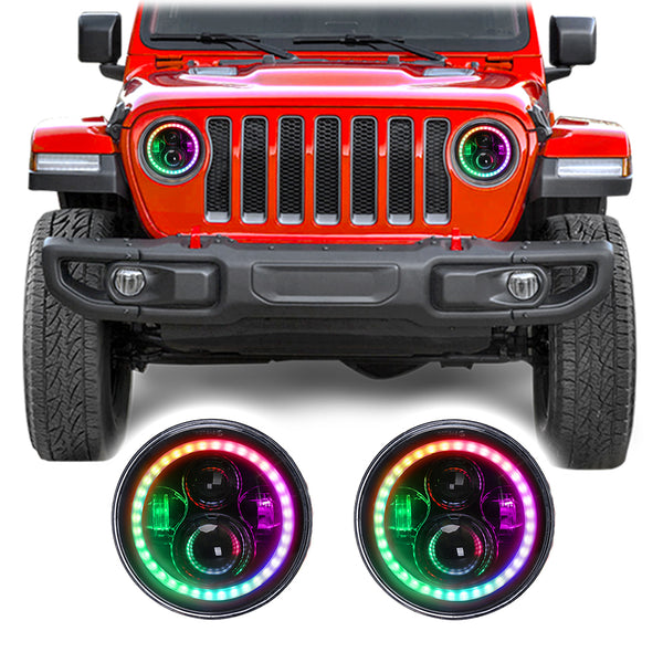 Jeep Wrangler JL & JLU Color Changing RGB LED Headlights (2018+)