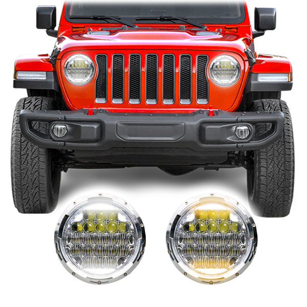 Jeep Wrangler JL & JLU Honeycomb V2 Chrome LED Headlights (2018+)