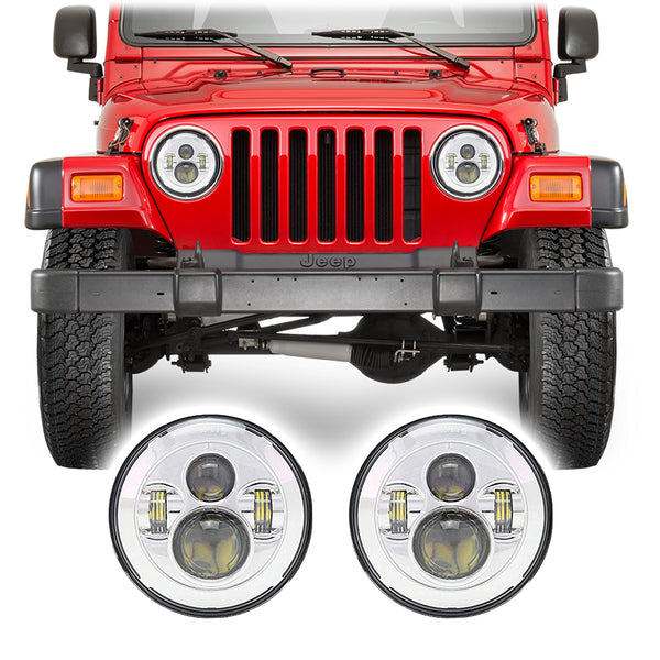 "Jeep Wrangler TJ & LJ LED Pro 7"" Chrome Headlights (1997-2006)"