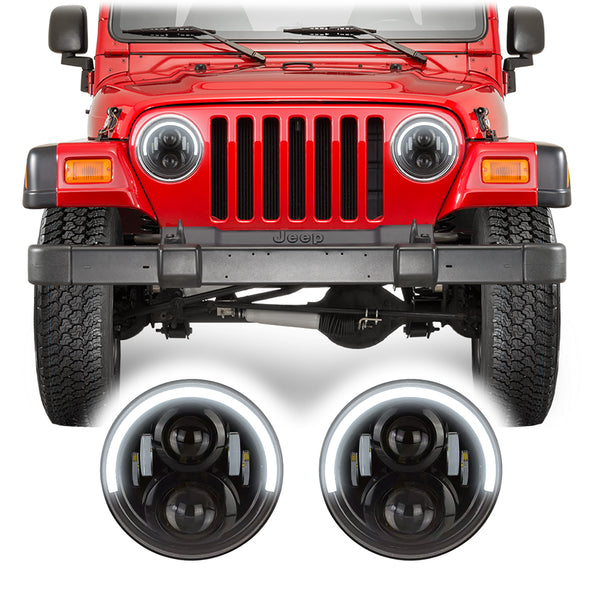 Jeep Wrangler TJ & LJ Half Halo LED Headlights (1997-2006)