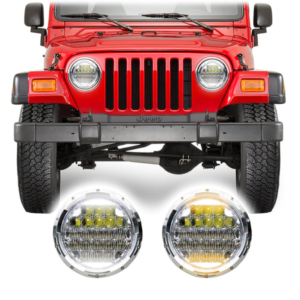 Jeep Wrangler TJ & LJ Honeycomb V2 Chrome LED Headlights (1997-2006)