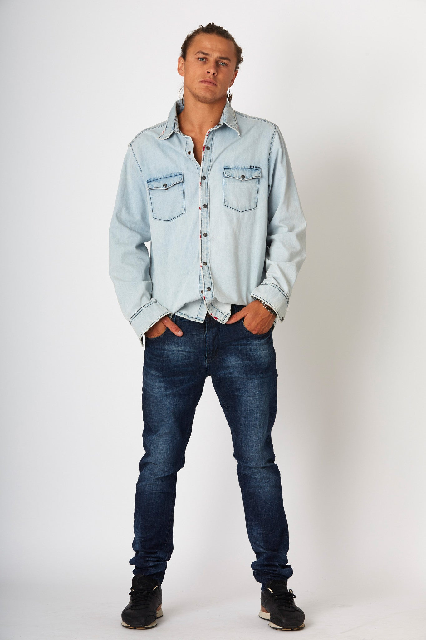 #2F10 Denim Pipe Shirt Glacier Blue - denimcolab
