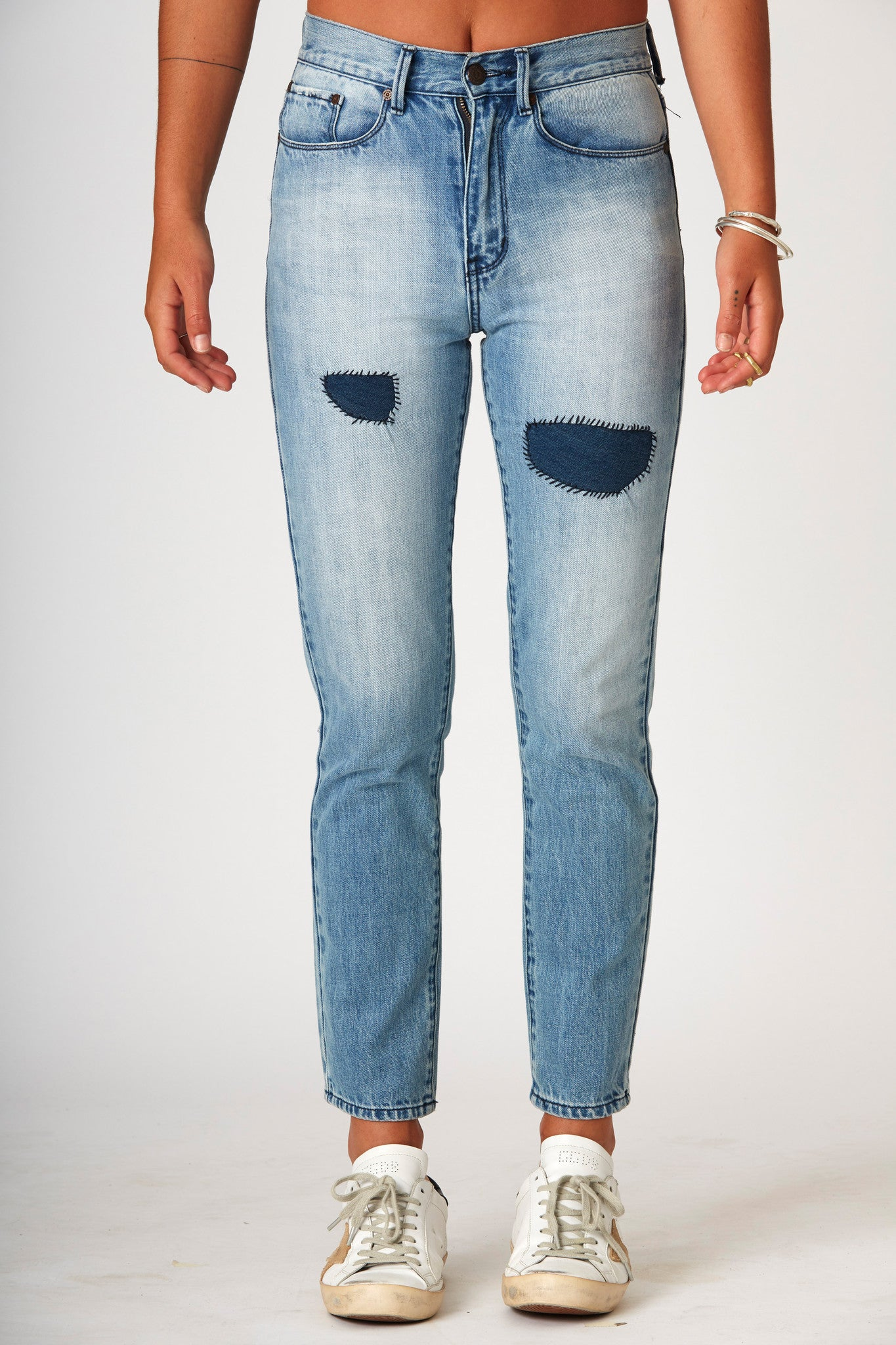 #3A33 Mid Slim Ankle Moon Blue Patch - denimcolab