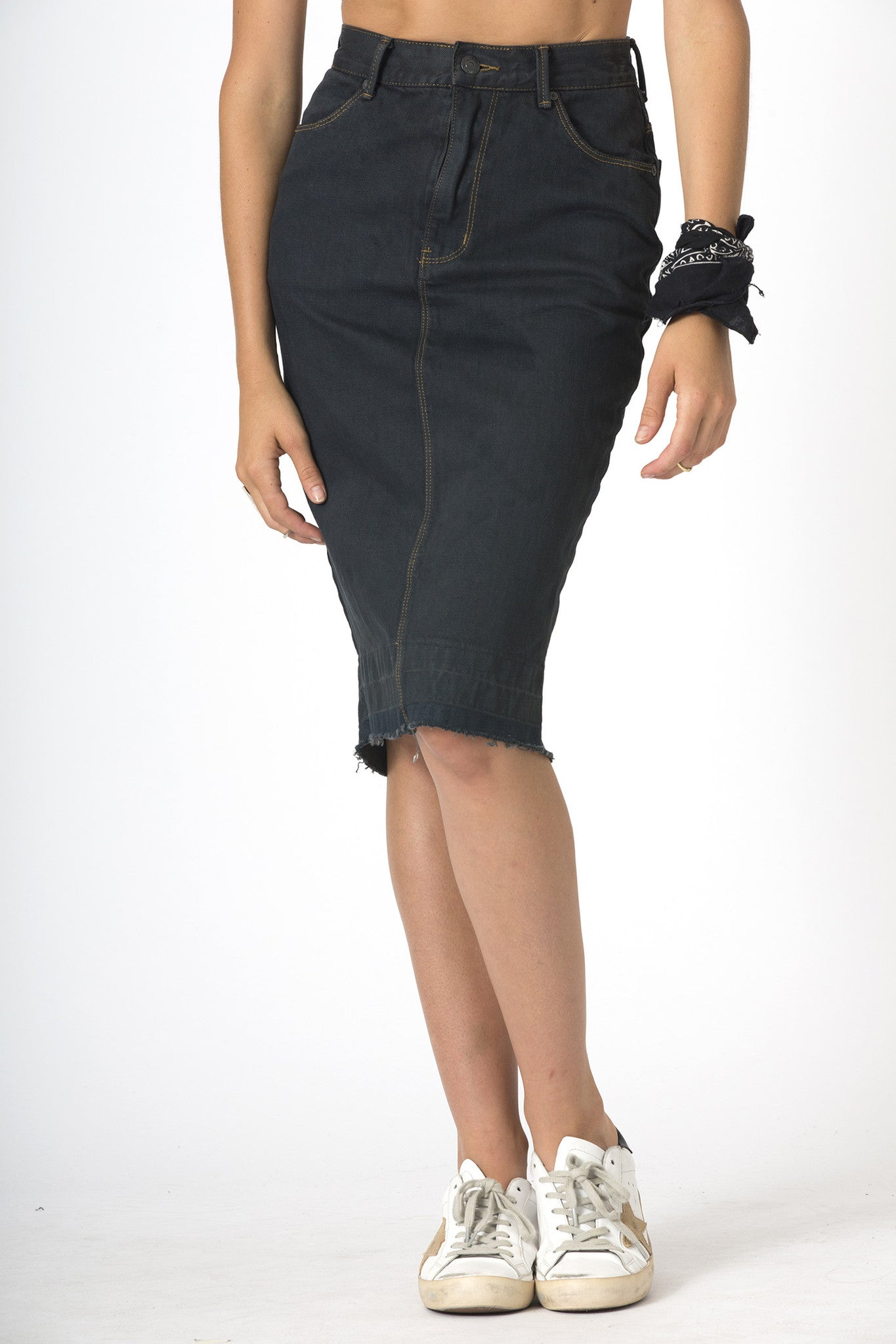 #3E15 High Midi Skirt Carbon Black - denimcolab