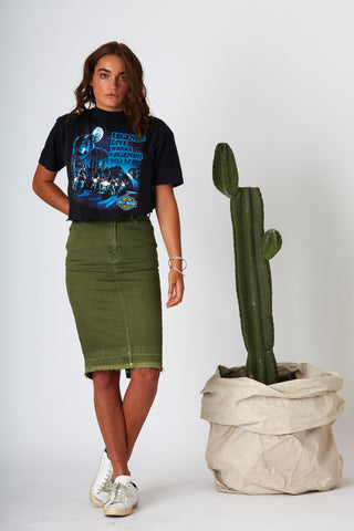 #3E15 High Midi Skirt Mill Green - denimcolab