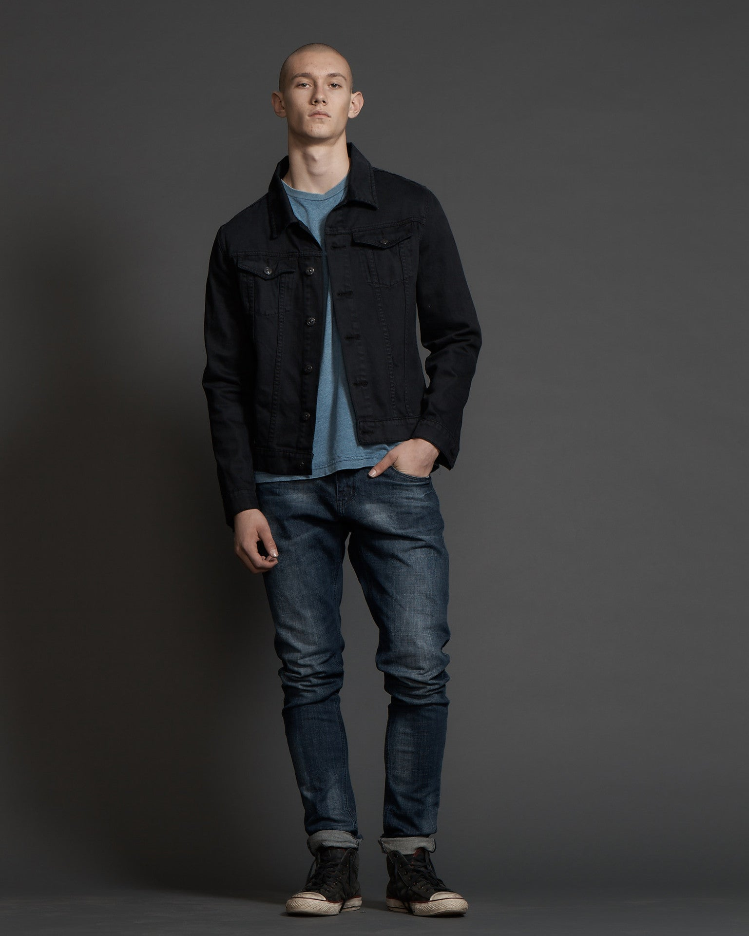 #1G12M Unisex Jacket Wash Black - denimcolab
