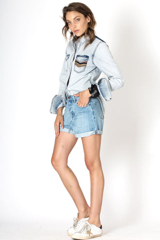 #3D16 Relaxed Short Moon Blue - denimcolab