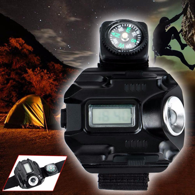 Flashlight Torch Compass Watch Hiking Camping