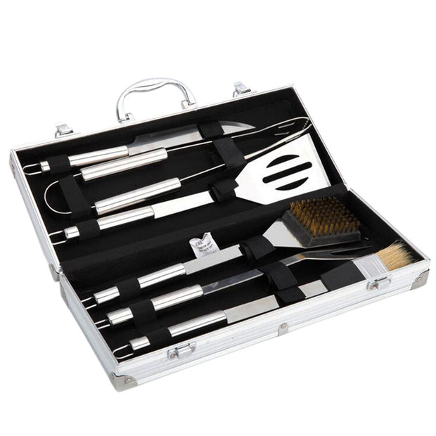 Stainless Steel BBQ Tool Set With Aluminum Storage Case