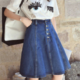 Button Front Denim A Line Skirt