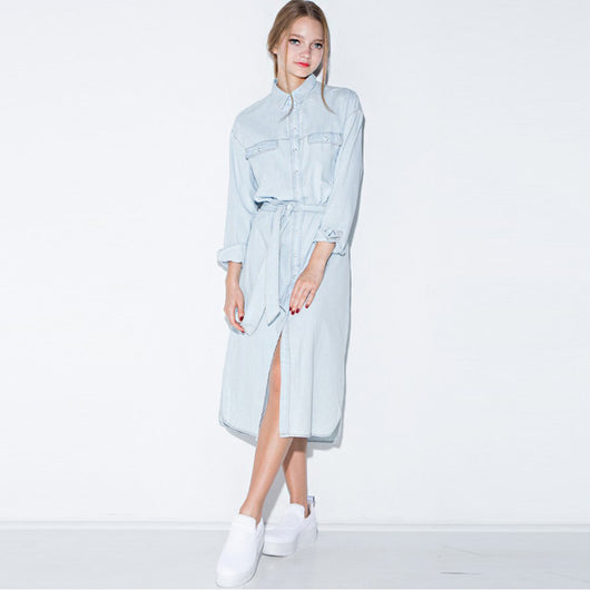 Front Belt Casual Vintage Denim Dress