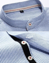 Striped Shirt With Grandad Collar (2 Colors)