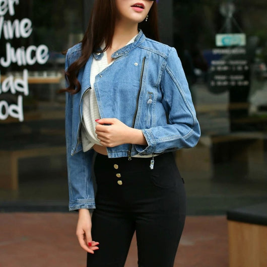 Light Wash Denim Biker Jacket