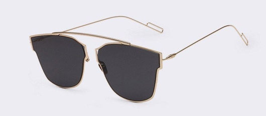 Metal Cat Eye Sunglasses with Flat Mirror Lens (8 Colors)