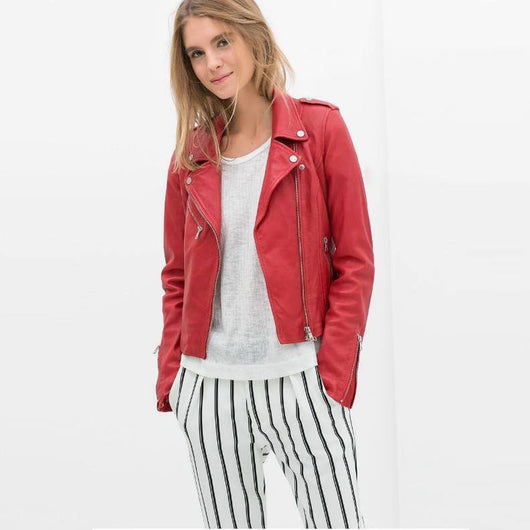 Whipstitch Leather Biker Jacket (2 Colors)