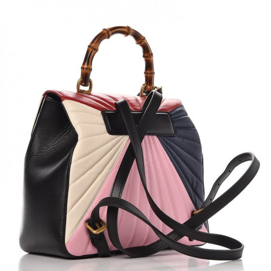 43f256464266 ... GUCCI Calfskin Queen Margaret Backpack Light Pink White Hibiscus Red  Blue ...