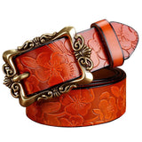 Leather Belt with Big Flowers Pattern (4 colors)